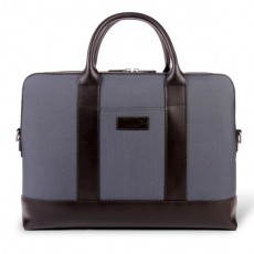 Montorgueil Bag Grey Cordura Brown Leather Briefcase