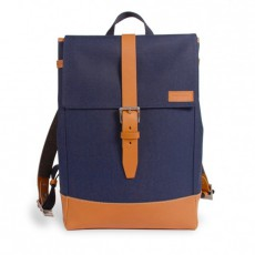 Menilmontant Backpack Navy Cordura Camel Leather