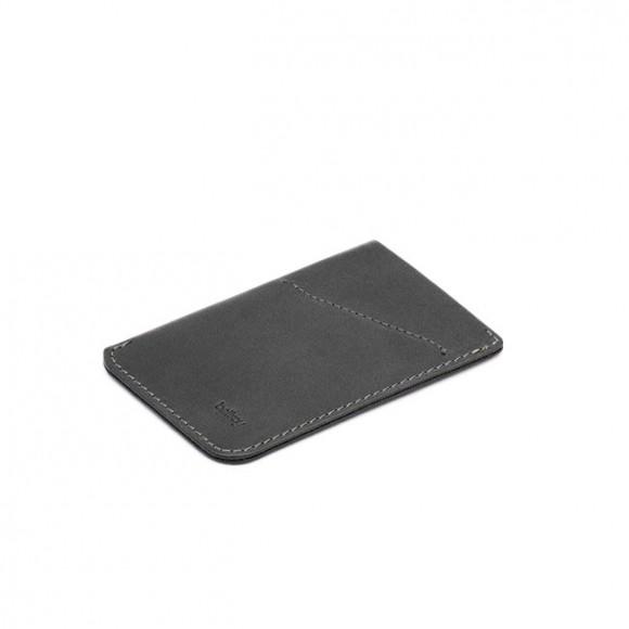 Card Sleeve Slim Leather Black