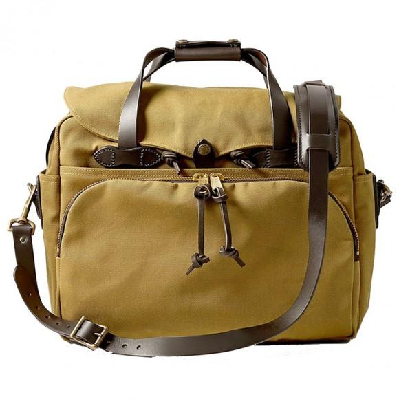 Rugged Twill Padded Computer Bag Tan