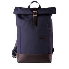 Caulaincourt Backpack Navy Cordura Brown Leather