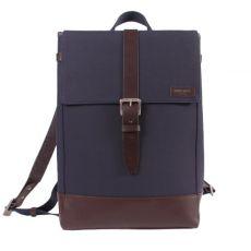 Menilmontant Backpack Navy Cordura Chocolate Leather